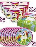 HomeTools.eu, set di stoviglie da festa 'Rainbow', con motivo a unicorno, con piatti di carta, bicchieri e tovaglioli per 8persone, da 36pezzi