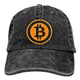 hanbaozhou Bitcoin Logo 2017 Washed Retro Adjustable Cowboy Hat Trucker Cap for Man and Woman