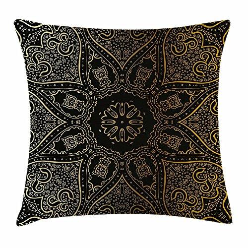 DCOCY Mandala Funda de cojín, diseño de flor asiática de gran tamaño, diseño de armonía espiritual, elementos artísticos árabes, funda de almohada decorativa cuadrada, 45,7 x 45,7 cm, color negro y amarillo pálido