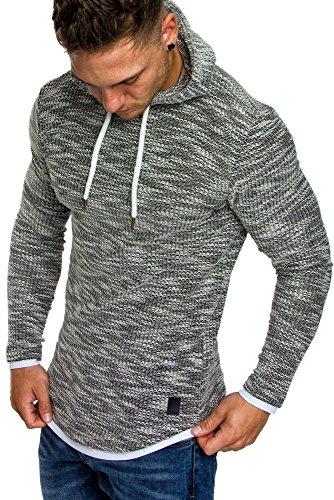 Amaci&Sons Herren 2in1 Kapuzenpullover Hoodie Sweater Pullover Sweatshirt 4013 Schwarz M (Pullover Männer)