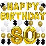 KUNGYO Happy Birthday Lettere Alfabeto Balloon+Numero 80 Mylar Foil Palloncini+24 Pezzi Oro Bianco Nero Lattice Balloons- Perfetto per Decorazioni di Festa di Compleanno di 80 Anni