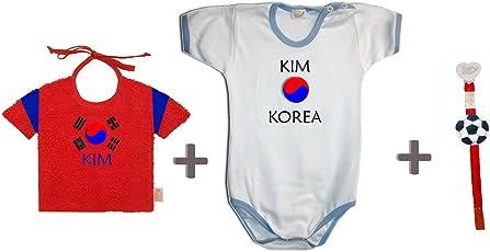 Zigozago - Weltmeisterschaft Südkorea personalisiert Set zusammengestellt von Lätzchen + Spielanzug + Schnullerkette.