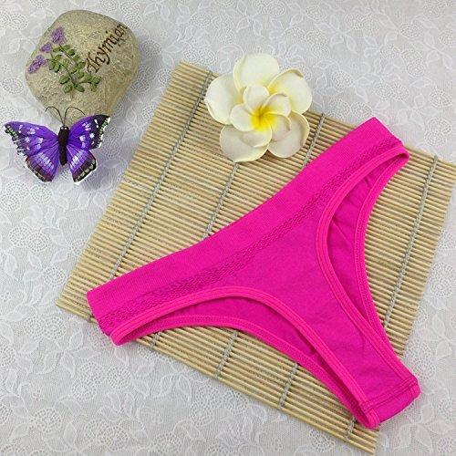 Bigood Culotte Sans Couture Femme Sexy G-string Sous-vêtement Lingerie de Nuit Souple Rose Rouge