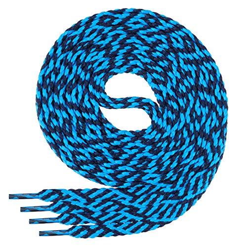 Di Ficchiano Flache SCHNÜRSENKEL für Sneaker und Sportschuhe Twist-Navy/L.blue-150 (Ca Sportschuhe)
