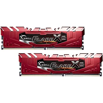 G.SKILL F4-2400C16D-16GFXR 16 GB (8 GB x 2) Flare X Series DDR4 2400 MHz PC4-19200 CL16 Dual Channel Memory Kit - Red