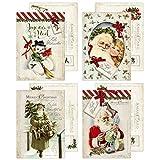 20 Vintage Weihnachtskarten, Postkarten im Retro Stil, Weihnachtspostkarten, 10,5 x 14,8 cm 4 versch. Designs