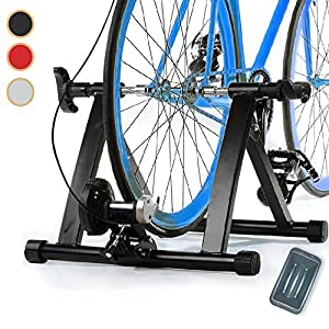 Magnetic 8 Levels Turbo Trainer Varied Speed Cycling Bike w Front Wheel Block, 3 Colors Optional (Black)