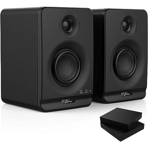"""Donner 3"""" Monitor da studio di Registrazione con CSR Professionale Bluetooth 5.0, confezione da 2 inclusi pad di isolamento per monitor audio da studio (Dyna3 Nero, Coppia)"""