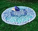 Floral Bloom türkise rund weiß Mandala Tapisserie Überwurf Hippie Gypsy Beach Decke Yoga Matte Boho 100% Baumwolle Pom Pom 176,5cm.