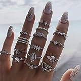 IYOU, Set di anelli vintage per nocche, colore argento, con pietre in cristallo, impilabili, stile stravagante, gioielli per