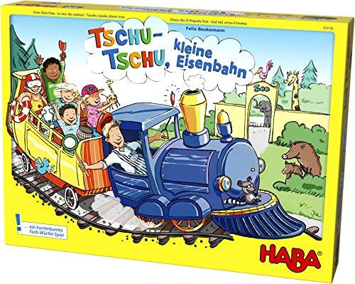 Haba 303736 - Tschu-tschu, kleine Eisenbahn | Brettspiel mit großem Puzzle-Spielplan, Würfel, Eisenbahn, 24 Fahrgast-Plättchen, 3 Weichen und 4 Haltestellen | Spielzeug ab 3 Jahren -