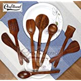 Craft Land Handmade Wooden (Rose Wood) Serving And Cooking Spoon Kitchen Tools Utensil, Non Stick Set Of 8