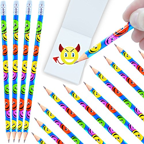 - 12 x Happy Face - Party - Bleistifte mit Radierer┃ NEU ┃ Kindergeburtstag ┃ Mitgebsel ┃ Smiley - Party ┃ 12 Stück (Halloween-brief-schriften)