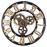 LQ-wall clock Wanduhr 3D Gear Holz Wanduhr Digital Vintage Wanduhren Vintage Uhren Römischen Stil Circular Oversized, Golden Rome 30cm
