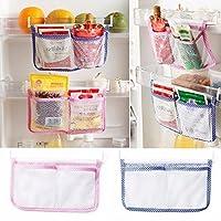 Moradiya Fresh 2Pc Refrigerator Storage Bag Vegetable Seasoning Hanging Pocket Organizer (Random Color)