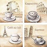ARTland Qualitätsbilder I Glasbilder Deko Glas Bilder 20 x 20 cm mehrteilig Ernährung Genuss Getränke Kaffee Malerei Creme F2AX Mocca in Wien, Cappuccino in Rom, Café au lait in Paris, Espresso in Pisa