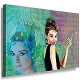 JULIA-ART QN. 164-2 Audrey Hepburn Model Icon Bild auf Leinwand Deko ideen S - Format 60 - 40 cm