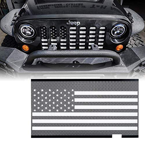 L&U Originale Front Hood Matte Grill Griglia Griglia Bandiera Americana Inserto in Maglia di Acciaio per 2007-2017 Jeep Wrangler JK JKU,BlackandWhite