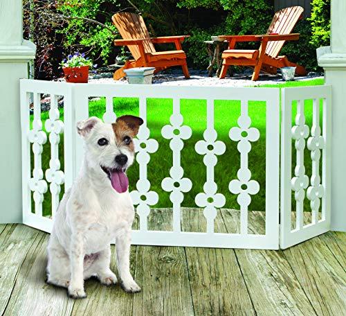Etna Hundegitter, Holz, Blumenmuster, freistehend, faltbar, verstellbar, 3 Abschnitte, Weiß Extra breit, hält Haustiere drinnen und draußen, komplett montiert