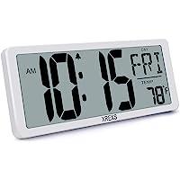 13,46'' Grande Horloge Murale Numérique - XREXS Horloge Murale LCD de Bureau avec Fonction Snooze Numérique Calendrier…