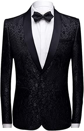 Allthemen Men's Luxury Casual Blazer Slim Fit Paisley Floral Jacquard Suit Jackets Stylish Coats Chic Jackets