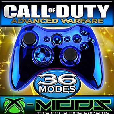 Xbox 360 Rapidfire Controller - Blue Chrome - BEST MOD ON AMAZON!! Jumpshot - Dropshot - Jitter - all the best modes!! CoD - Battlefield - Mod - Custom