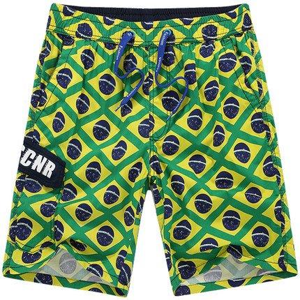 HOOM-Nouveau pantalon de plage d'été occasionnels Shorts hommes Camo coton taille lâche cinq pantalons shorts Green