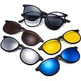 نظارات الرؤية الليلية المستقطبة العاكسة، مجموعة من 5 نظارات شمسية مغناطيسية سوداء مستقطبة للتثبيت بالضغط باطار من البلاستيك ل