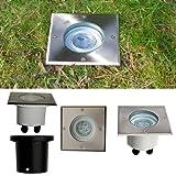 51100311 LED Bodeneinbaustrahler 3 Watt LED, Bodenleuchte 230V, Lichtfarbe: warmweiss, Bodeneinbauleuchte schwenkbar mit Edelstahl Abdeckring Quadrat ca. 155 x 155 mm. IP67.