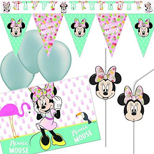 Neu 21-tlg Deko-Set * Minnie Maus - Tropical * mit Girlande + Wimpelkette + Tischdecke + Trinkhalme | Mouse Kinder Geburtstag Mottoparty Disney Dekoration