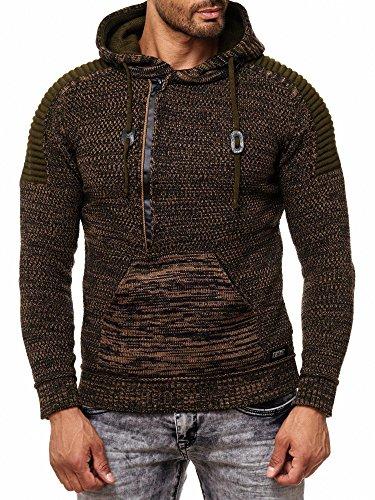 RUSTY NEAL Herren Jacke Strick-Pullover Strickjacke mit Kapuze RN-13290 Khaki
