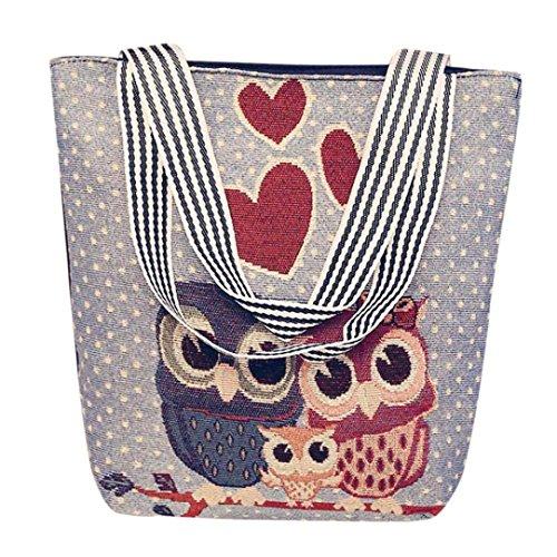 ❤️YunYoud❤️ Segeltuch Handtasche Damen Karikatur Eule Drucken Schulter Messenger Bag Käufer Taschen umhängetasche Niedlich Schulter Tasche damentaschen (F)