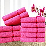 #2: Story@Home Sensational Solid 10 Piece 450 GSM Cotton Face Towel Set - Pink