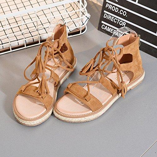 Y-BOA Bohême Sandales Spartiates Lacets Vintage Nu-Pieds Chaussure Léger Plat Plage Voyage Été Brun