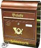 Stabiler Großer Briefkasten, Premium-Qualität, verzinkt mit Rostschutz Runddach R/c kupfer kupferfarben braun + Zeitungsfach Zeitungsrolle Postkasten