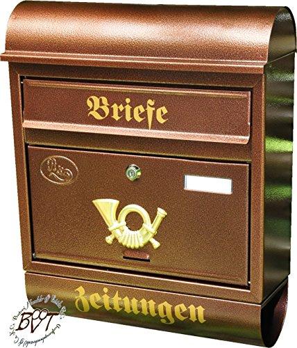 Preisvergleich Produktbild Briefkasten, groß XXL, Premium-Qualität, verzinkt, pulverbeschichtet Runddach R/c kupfer kupferfarben braun + Zeitungsfach Zeitungsrolle Postkasten