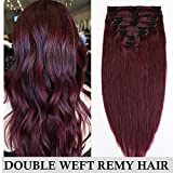 Double Weft Clip in Hair Extensions Real Remy Human Hair Full Head 8 Pieces - 18 inch 140g #99J Wine Red - Thick Long Straight Natural