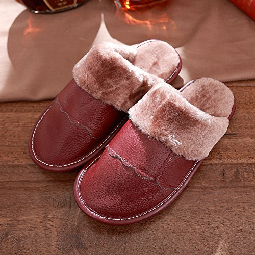 DogHaccd pantofole,Gli uomini e le donne Autunno Inverno pantofole di cotone caldo inverno spesse pantofole di peluche coppie scarpe home Il vino è di colore rosso2