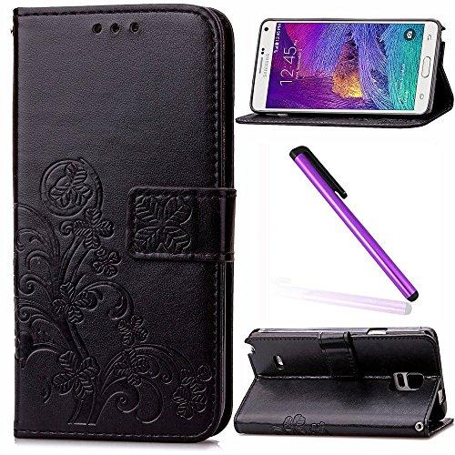 e 4 Case Glitzer Bling Diamant Schmetterling Flip Leather Leder Schutzhülle Ledertasche Lederhülle Handyhülle Hülle für Samsung Galaxy Note 4,Black Clover ()