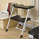 Trittleiter YXX- Home Folding Step Ladder Hocker für Erwachsene & Kinder Küche Portable Folding Hocker/Stühle Small Stepladder/Lagerregal/Flower Rack (Farbe : Schwarz, Größe : 2 Tiers)