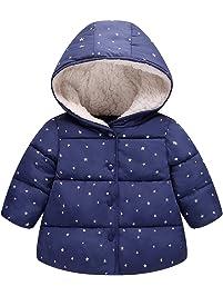 e1a7c9dfa Algodón Abrigo para Niñas, Chaquetas con Capucha Invierno Calentito Ligero  Abrigo Ropa para Bebés Niños