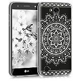 kwmobile Hülle für LG X power 2 - TPU Silikon Backcover Case Handy Schutzhülle - Cover klar Aztec Blume Design Weiß Transparent