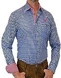 trenditionals Slim Line Trachtenhemd Heinrich mit Kontasten, Größen:M;Farbe:kobalt - weiss - rot