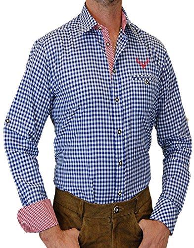 trenditionals Slim Line Trachtenhemd Heinrich mit Kontasten, Größen:XL;Farbe:kobalt - weiss - rot
