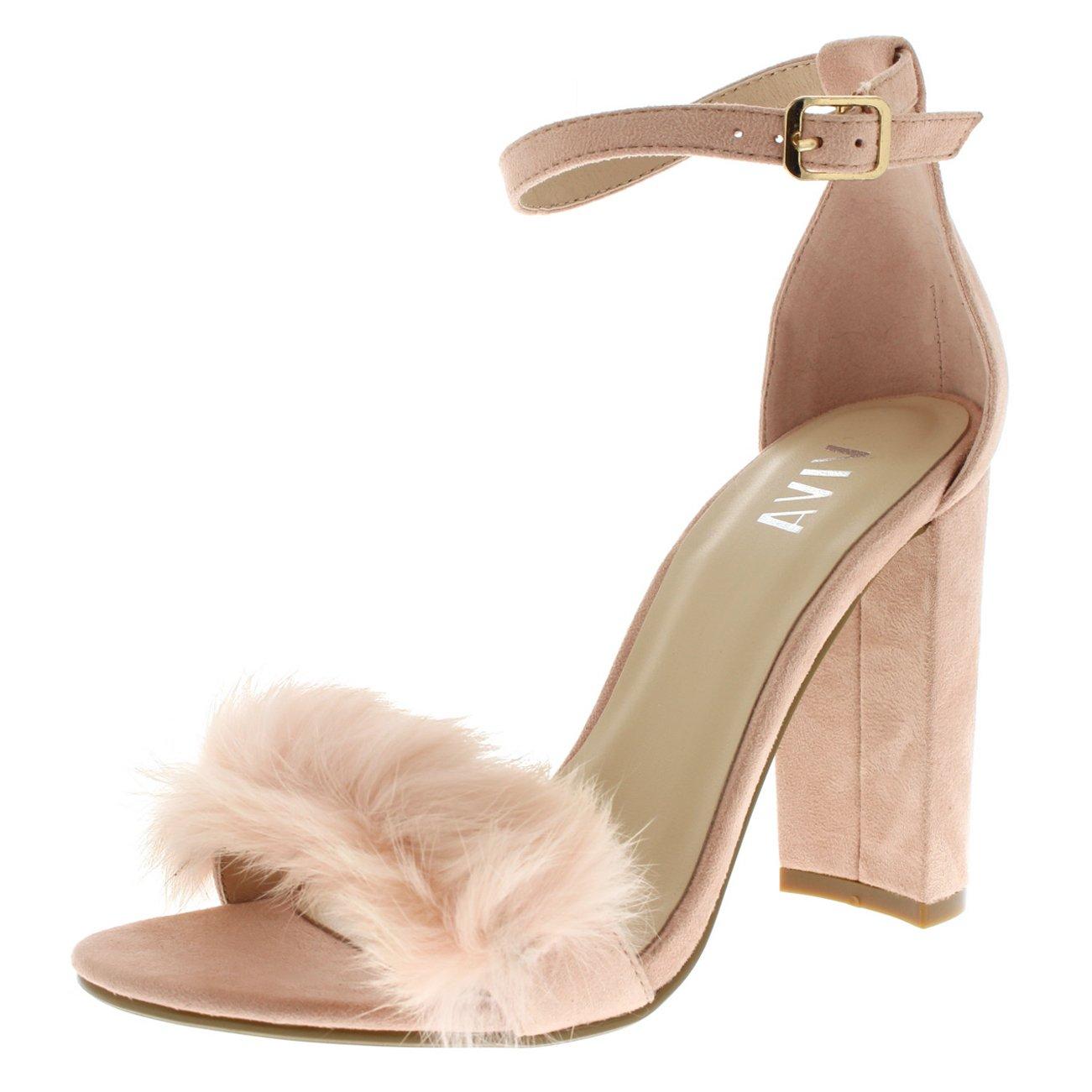 2524b75642e0 Pink Women s Evening Block Heel Sandal Party Fur Fluffy High Heels ...