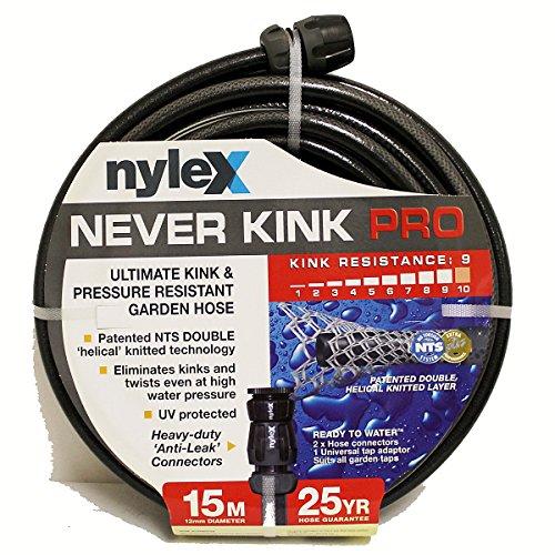 nyleX Never Kink PRO HeavyDuty Gartenschlauch Schlauch Wasserschlauch Schwarz 15 m 1/2