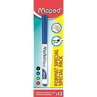 Maped - Boîte de 12 Marker'Peps fins effaçables - Feutres fins effaçables à sec - Coloris : Noir x4, bleu x4, vert x2…