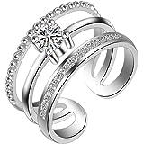 Outflower Anello Gioiello Femminile a Tre Strati Aperto in Argento con Diamanti, Misura Regolabile, Anello Multistrato, Regal
