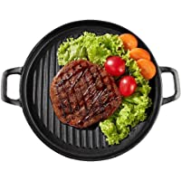 Cast Iron Griddle Pan for BBQ, Round Grill Pan with Ridged Surface for Stove, Oven or Grill, Two Handles (31 cm)