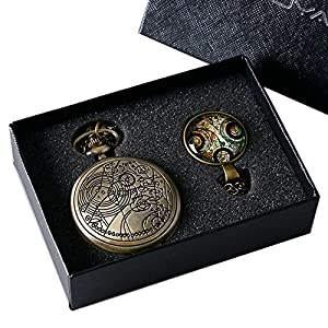 YISUYA Vintage Bronze Doctor Who Retro Dr Who Pocket Watch with Chain Mens Boys Necklace Pendant Gift Box by YISUYA